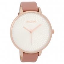 OOZOO Timepieces C9725 γυναικείο ρολόι με ροζ χρυσή μεταλλική κάσα και ροζ δερμάτινο λουράκι