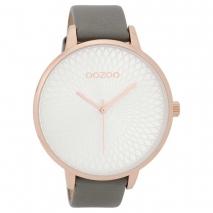 OOZOO Timepieces C9726 γυναικείο ρολόι με ροζ χρυσή μεταλλική κάσα και σκούρο γκρι δερμάτινο λουράκι