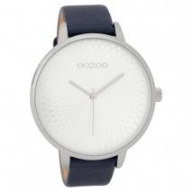 OOZOO Timepieces C9728 γυναικείο ρολόι με ασημί μεταλλική κάσα και σκούρο μπλε δερμάτινο λουράκι