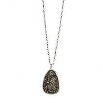 Oxette Sterling Silver Necklace 01X01-04566 rosarium with Platinum Plating and Precious Stones (Quartz Crystals)