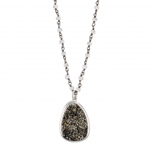 Oxette Sterling Silver Necklace 01X01-04567 rosarium with Platinum Plating and Precious Stones (Quartz Crystals)