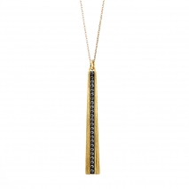 Oxette κολιέ 01X05-02238 από επιχρυσωμένο ασήμι 925ο με ημιπολύτιμες πέτρες (Κρύσταλλοι Quartz)