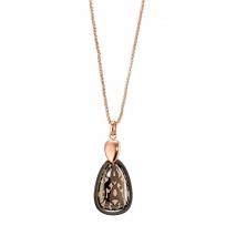 Oxette κολιέ 01X27-00313 από ροζ χρυσό και σκούρο γκρι ανοξείδωτο ατσάλι (Stainless Steel) με ημιπολύτιμες πέτρες (Σμάλτο)