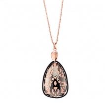 Oxette κολιέ 01X27-00314 από ροζ χρυσό και σκούρο γκρι ανοξείδωτο ατσάλι (Stainless Steel) με ημιπολύτιμες πέτρες (Σμάλτο)