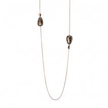 Oxette κολιέ 01X27-00315 από ροζ χρυσό και σκούρο γκρι ανοξείδωτο ατσάλι (Stainless Steel) με ημιπολύτιμες πέτρες (Σμάλτο)