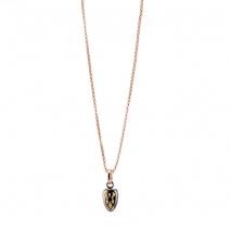 Oxette κολιέ 01X27-00316 από ροζ χρυσό και σκούρο γκρι ανοξείδωτο ατσάλι (Stainless Steel) με ημιπολύτιμες πέτρες (Σμάλτο)
