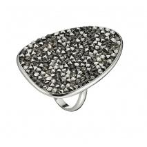 Oxette δαχτυλίδι 04X01-03530 από επιπλατινωμένο ασήμι 925ο με ημιπολύτιμες πέτρες (Κρύσταλλοι Quartz)