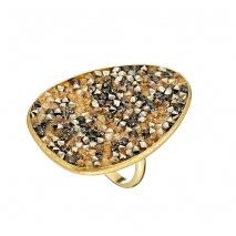 Oxette δαχτυλίδι 04X05-01338 από επιχρυσωμένο ασήμι 925ο με ημιπολύτιμες πέτρες (Κρύσταλλοι Quartz)