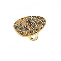 Oxette δαχτυλίδι 04X05-01339 από επιχρυσωμένο ασήμι 925ο με ημιπολύτιμες πέτρες (Κρύσταλλοι Quartz)