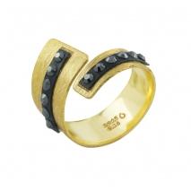 Oxette δαχτυλίδι 04X05-01340 από επιχρυσωμένο ασήμι 925ο με ημιπολύτιμες πέτρες (Κρύσταλλοι Quartz)