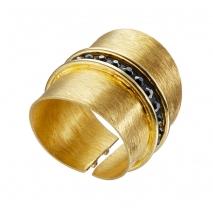 Oxette δαχτυλίδι 04X05-01343 από επιχρυσωμένο ασήμι 925ο με ημιπολύτιμες πέτρες (Κρύσταλλοι Quartz)