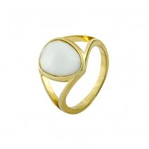 Oxette δαχτυλίδι 04X15-00058 από χρυσό ορείχαλκο με ημιπολύτιμες πέτρες (Κρύσταλλοι Quartz)