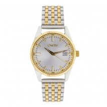 Oxette 11X05-00539 Stainless Steel Watch with silver and gold case and bracelet
