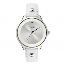 Oxette 11X06-00495 Stainless Steel Watch with silver case and leather bracelet
