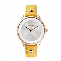 Oxette 11X65-00245 Stainless Steel Watch with rose gold case and leather strap