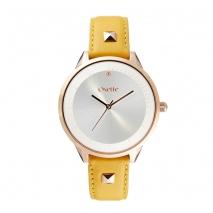 Oxette ρολόι 11X65-00245 από ανοξείδωτο ατσάλι με ροζ χρυσή επιμετάλλωση στην κάσα και δερμάτινο λουράκι