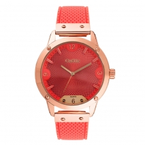 Oxette ρολόι 11X75-00252 από ανοξείδωτο ατσάλι με ροζ χρυσή επιμετάλλωση στην κάσα και λουράκι σιλικόνης