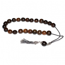 Worry beads (handmade) with Sterling Silver 925o and Precious Stones (Bull Horn). WB-HM-015 The beads diameter is 14 mm.