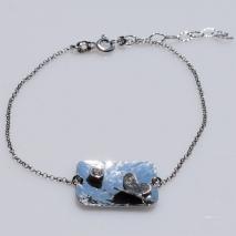 Χειροποίητο βραχιόλι Eight-Bracelet-BR-00042 πεταλούδα από ροδιωμένο ασήμι 925ο με ημιπολύτιμες πέτρες (ζιργκόν) 2