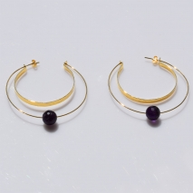 Handmade sterling silver earrings Eight-Earrings-ER-00388 with gold plating and semi-precious stones (amethyst) 2