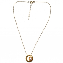 Handmade sterling silver necklace Eight-Necklace-NK-00387 with gold plating and semi-precious stones (pearls) Full