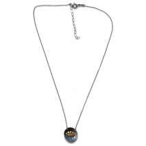 Handmade sterling silver necklace Eight-Necklace-NK-00389 crown with rhodium and gold plating and semi-precious stones (zirconia) Full