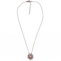 Handmade sterling silver necklace Eight-Necklace-NK-00390 flower with rose gold plating and semi-precious stones (pearls) Full