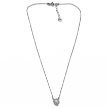 Handmade sterling silver necklace Eight-Necklace-NK-00394 with rhodium plating and semi-precious stones (pearls) Full