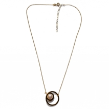 Handmade sterling silver necklace Eight-Necklace-NK-00395 with gold plating and semi-precious stones (pearls) Full