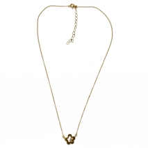 Handmade sterling silver necklace Eight-Necklace-NK-00401 flower with gold plating and semi-precious stones (zirconia) Full