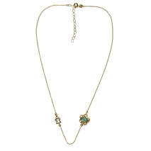 Handmade sterling silver necklace Eight-Necklace-NK-00403 flower child with gold plating and semi-precious stones (eye) Full