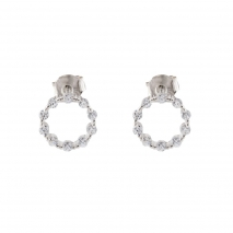 Loisir σκουλαρίκια 03L01-04312 κρίκοι από επιπλατινωμένο ασήμι με ημιπολύτιμες πέτρες (ζιργκόν)
