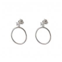 Loisir σκουλαρίκια 03L01-04313 κρίκοι από επιπλατινωμένο ασήμι με ημιπολύτιμες πέτρες (ζιργκόν)