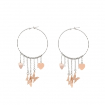 Loisir σκουλαρίκια 03L03-00189 κρίκοι από ανοξείδωτο ατσάλι (stainless steel) με διάφορα ροζ χρυσά στοιχεία