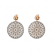 Loisir σκουλαρίκια 03L15-00349 από ροζ ορείχαλκο με ημιπολύτιμες πέτρες (κρύσταλλοι quartz)