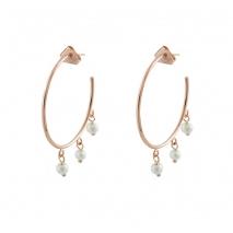 Loisir σκουλαρίκια 03L15-00360 κρίκοι από ροζ ορείχαλκο με ημιπολύτιμες πέτρες (πέρλες)