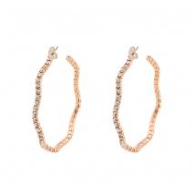 Loisir σκουλαρίκια 03L15-00380 κρίκοι από ροζ ορείχαλκο με ημιπολύτιμες πέτρες (κρύσταλλοι quartz)
