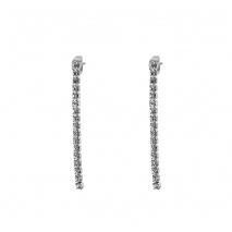 Loisir σκουλαρίκια 03L15-00381 μακριά από ασημί ορείχαλκο με ημιπολύτιμες πέτρες (κρύσταλλοι quartz)