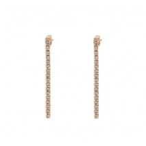 Loisir σκουλαρίκια 03L15-00387 μακριά από ροζ ορείχαλκο με ημιπολύτιμες πέτρες (κρύσταλλοι quartz)