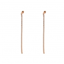 Loisir σκουλαρίκια 03L15-00388 μακριά από ροζ ορείχαλκο με ημιπολύτιμες πέτρες (κρύσταλλοι quartz)