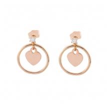 Loisir σκουλαρίκια 03L15-00390 κρίκοι καρδιά από ροζ ορείχαλκο με ημιπολύτιμες πέτρες (κρύσταλλοι quartz)