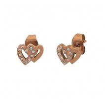 Loisir σκουλαρίκια 03L27-00508 καρδιά από ροζ χρυσό ανοξείδωτο ατσάλι (stainless steel) με ημιπολύτιμες πέτρες (κρύσταλλοι quartz)