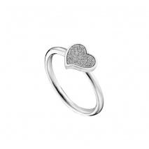 Loisir δαχτυλίδι 04L03-00268 καρδιά από ανοξείδωτο ατσάλι (Stainless Steel) με ημιπολύτιμες πέτρες (κρύσταλλοι quartz)