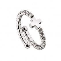 Loisir δαχτυλίδι 04L15-00012 σταυρός από ασημί ορείχαλκο με ημιπολύτιμες πέτρες (κρύσταλλοι quartz)