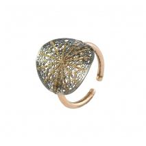 Loisir δαχτυλίδι 04L15-00138 από ροζ και μαύρο ορείχαλκο με ημιπολύτιμες πέτρες (κρύσταλλοι quartz)