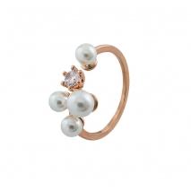 Loisir δαχτυλίδι 04L15-00143 από ροζ ορείχαλκο με ημιπολύτιμες πέτρες (πέρλες και κρύσταλλοι quartz)