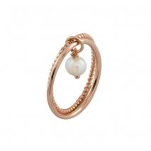 Loisir δαχτυλίδι 04L15-00145 από ροζ ορείχαλκο με ημιπολύτιμες πέτρες (πέρλες)