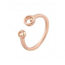 Loisir δαχτυλίδι 04L15-00163 από ροζ ορείχαλκο με ημιπολύτιμες πέτρες (κρύσταλλοι quartz)