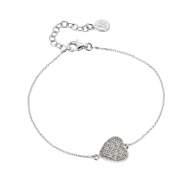 Oxette βραχιόλι 02X01-02990 καρδιά από επιπλατινωμένο ασήμι 925ο με ημιπολύτιμες πέτρες (κρύσταλλοι quartz)