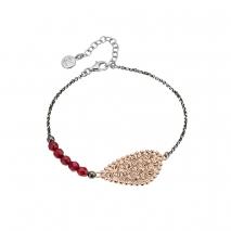 Oxette βραχιόλι 02X01-02997 από επιπλατινωμένο και ροζ επιχρυσωμένο ασήμι 925ο με ημιπολύτιμες πέτρες (κρύσταλλοι quartz)